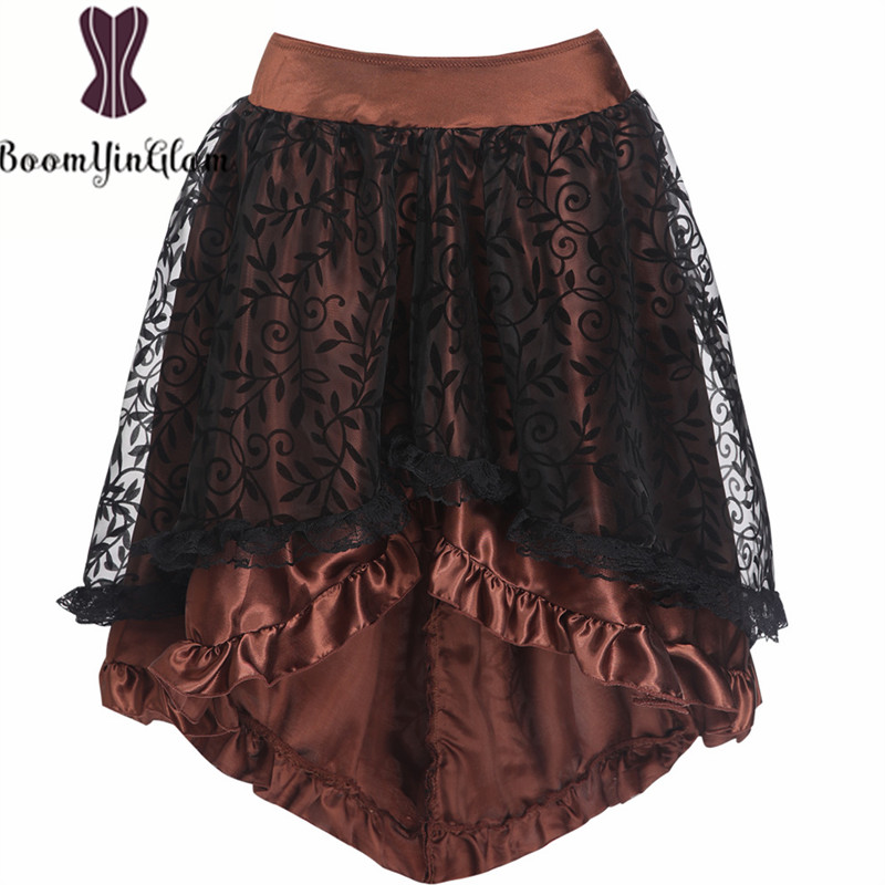 Free Shipping Women Irregular Skirt Black Corset Accessories Zipper Back Skirts Sexy Dancewear Brown Steampunk Corset Skirt 937#
