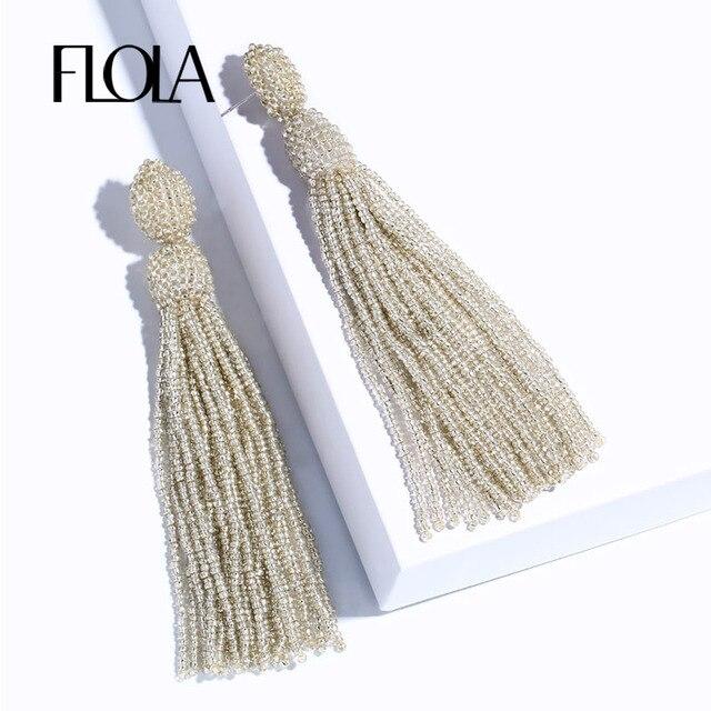 FLOLA 2019 Винтаж ручной работы с длинными висящими бусинами серьги для женские бусы Висячие бахрома серьги модные украшения oorbellen ersm97