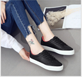 microfiber PU Platform Shoes Woman Round Head Lace-Up Flat Shoes Fashion Casual Shoes  students Leather canvas shoes