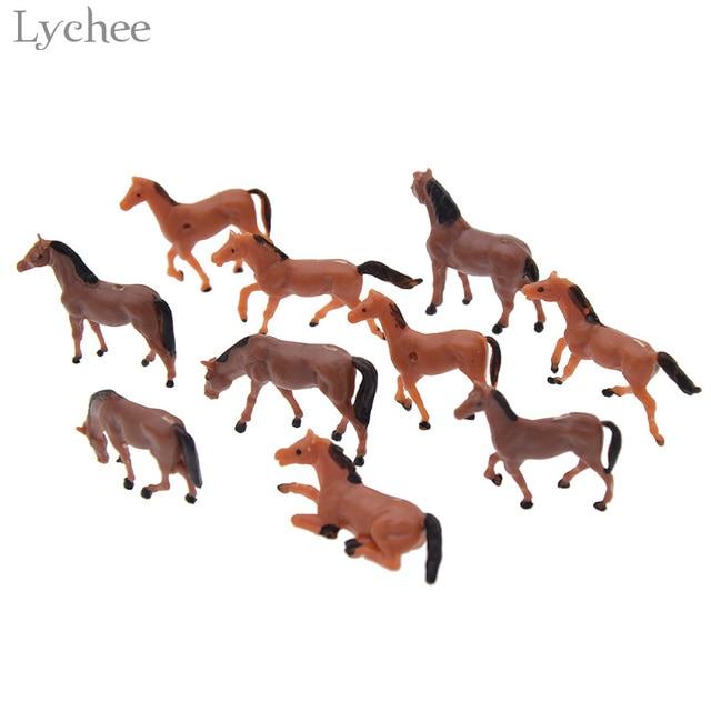 Lychee 10pcs Mini Plastic Model Horse Landscape Zen Garden Decor Figurines Miniatures Home Decoration Random