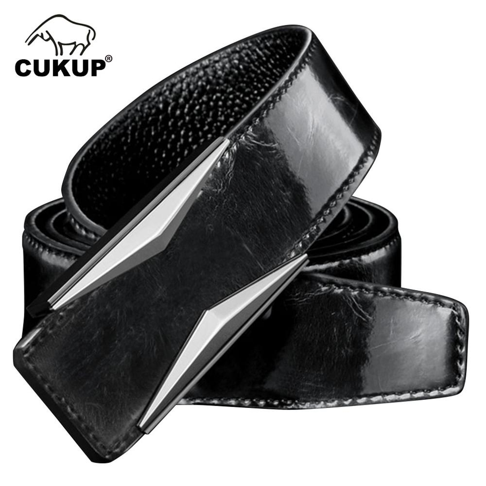 CUKUP Mens Brand Name Quality Cow Cowhide Leather Belt Male Fashion Smooth Buckle 33mm Wide Trousers for Men LUCK775