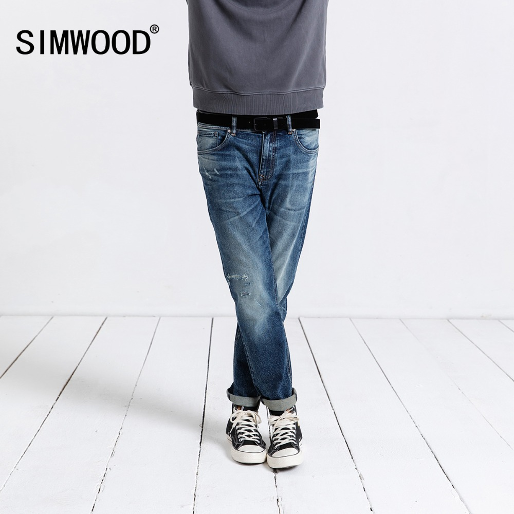 SIMWOOD 2019   Jeans   Men Fashion Denim Pants Slim Fit Plus Size Trousers Brand Clothing Hole Streetwear Free Shipping 190019