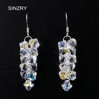 SINZRY takı Lüks DIY kristal küpe 925 gümüş Avusturya kristal el yapımı üzüm damla küpe için gelin