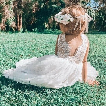 Vestidos para niñas, Princesa, fiesta de cumpleaños, ropa para niñas, vestido de novia sin mangas con flores de encaje, vestido de verano para niños, ropa para bebés