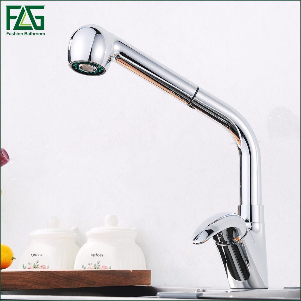 Kitchen Faucet Sink Mixer Tap Chrome Finish 2-Function Water Outlet Single Handle Pull Out Kitchen Tap 210-33 free shipping high quality chrome brass kitchen faucet single handle sink mixer tap pull put sprayer swivel spout faucet