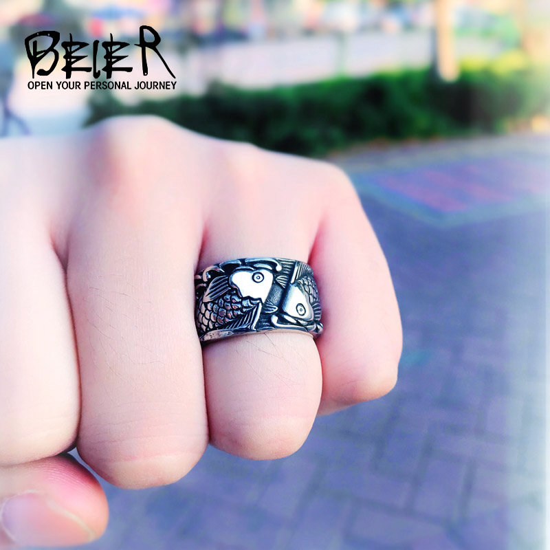Retro Embossed Fish Stainless steel casting process Ring Fashion Men Women Personality  Animal Jewelry BR8-257 US Size