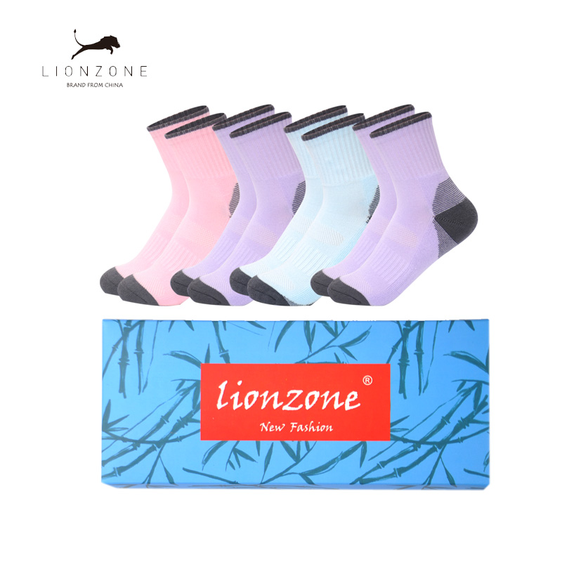 Women Patchwork Bamboo Thick Movement Socks 2018 Sale Real Calcetines Mujer Warm Sox Compression Socks 4PCS