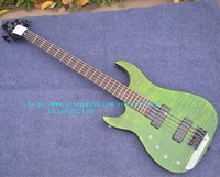 Free Shipping New Left Hand 5 Strings Electric Bass Guitar In Green With Black Hardware Foam