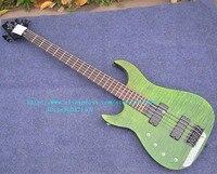 送料無料新しい左手5-stringsエレクトリックベースギター緑で黒ハードウェア+泡ボックスJT-32