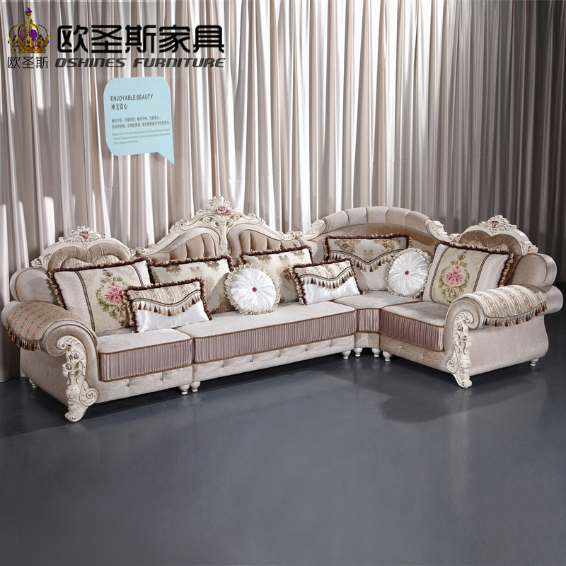 Luxury l shaped sectional living room furniutre Antique Europe design classical corner wooden carving fabric sofa sets 6831 luxury l shaped sectional living room furniutre antique europe design classical corner wooden carving fabric sofa sets 6831