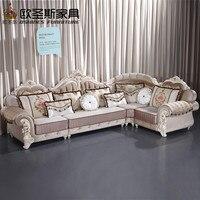 Luxus l förmigen schnitt wohnzimmer furniutre Antike Europa design klassische holz corner carving stoff sofa setzt 6831