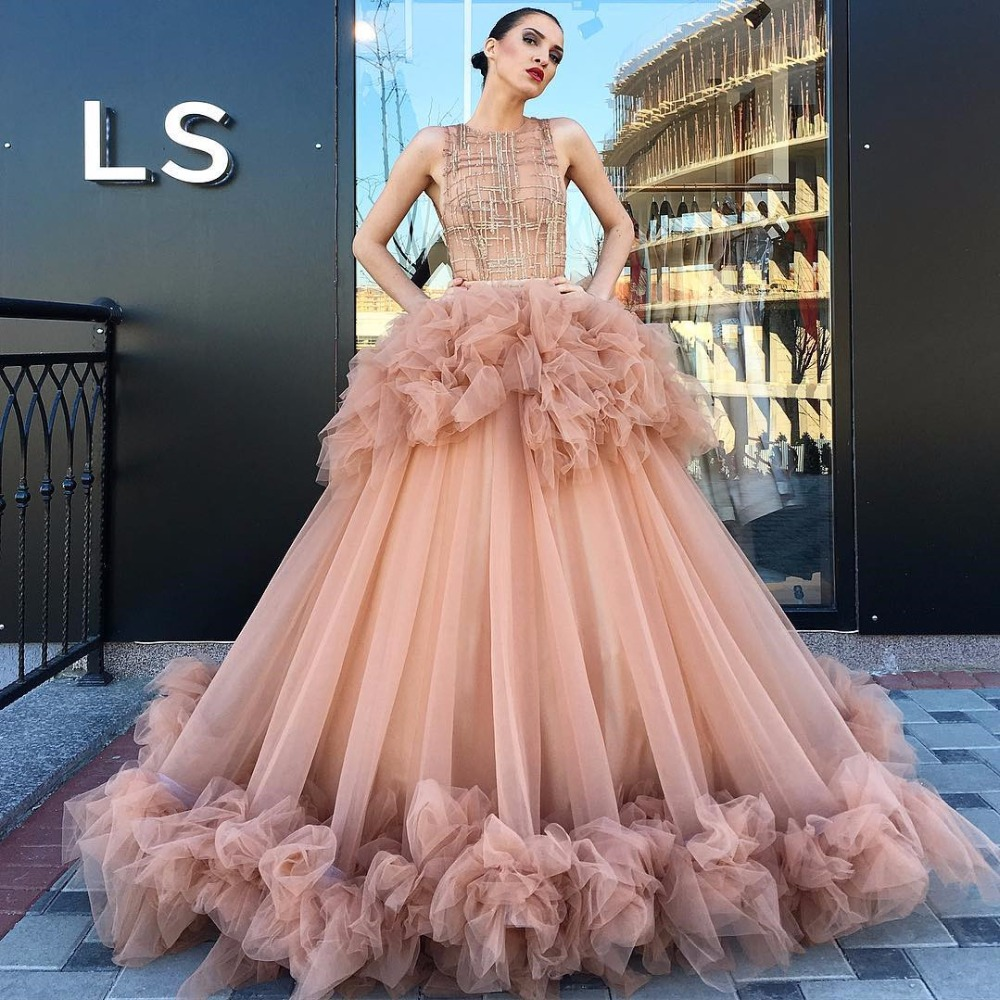 Ls Land Nude Models 3 Ball Gown Nude Pink Prom Dresses Ruffles Tulle Sequin Transparent Top Large  Fluffy Gowns for Special