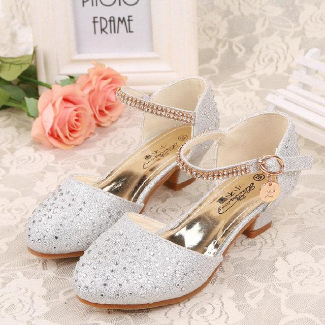 Attractive Children Princess Sandals 2017 New Summer Kids Girls Wedding Shoes High  Heels Dress Shoes Party Shoes