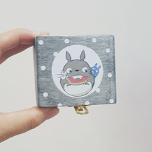 Miyazaki Totoro Wooden Music Box Birthday Gifts Cartoon Wood Crafts Accessories 6.7*6cm Mini Gifts