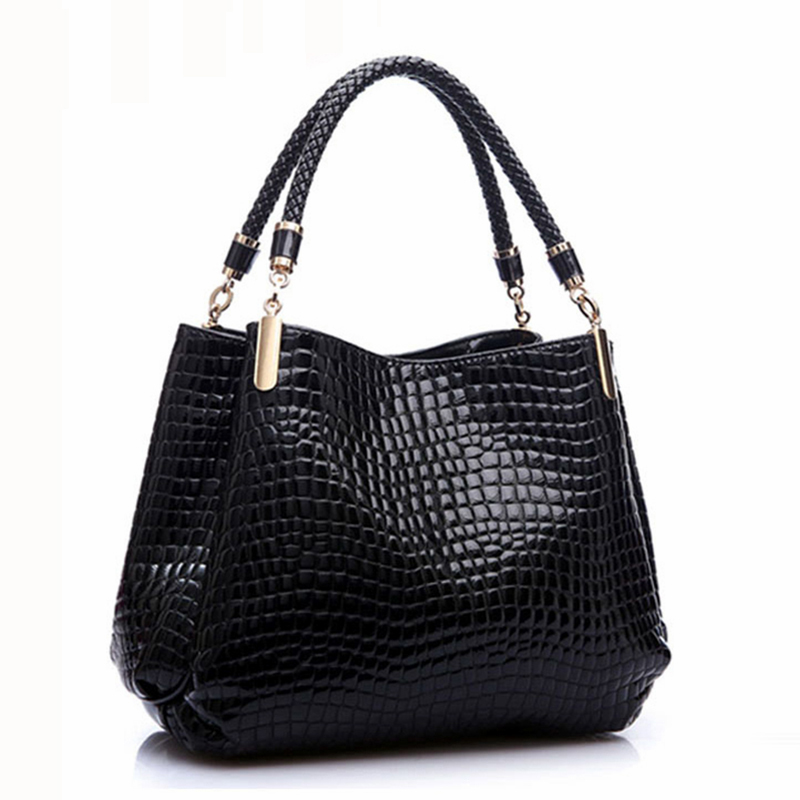 Designer Alligator Bags Women Leather Handbags Spanish Brand Luxury Ladies Hand Bags Fashion Shoulder Bags Black