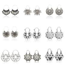 docona Antique Gold Silver Honeycomb Flower Drop Dangle Earring for Women Girl Hollow Geometric Pendant Earrings Pendientes
