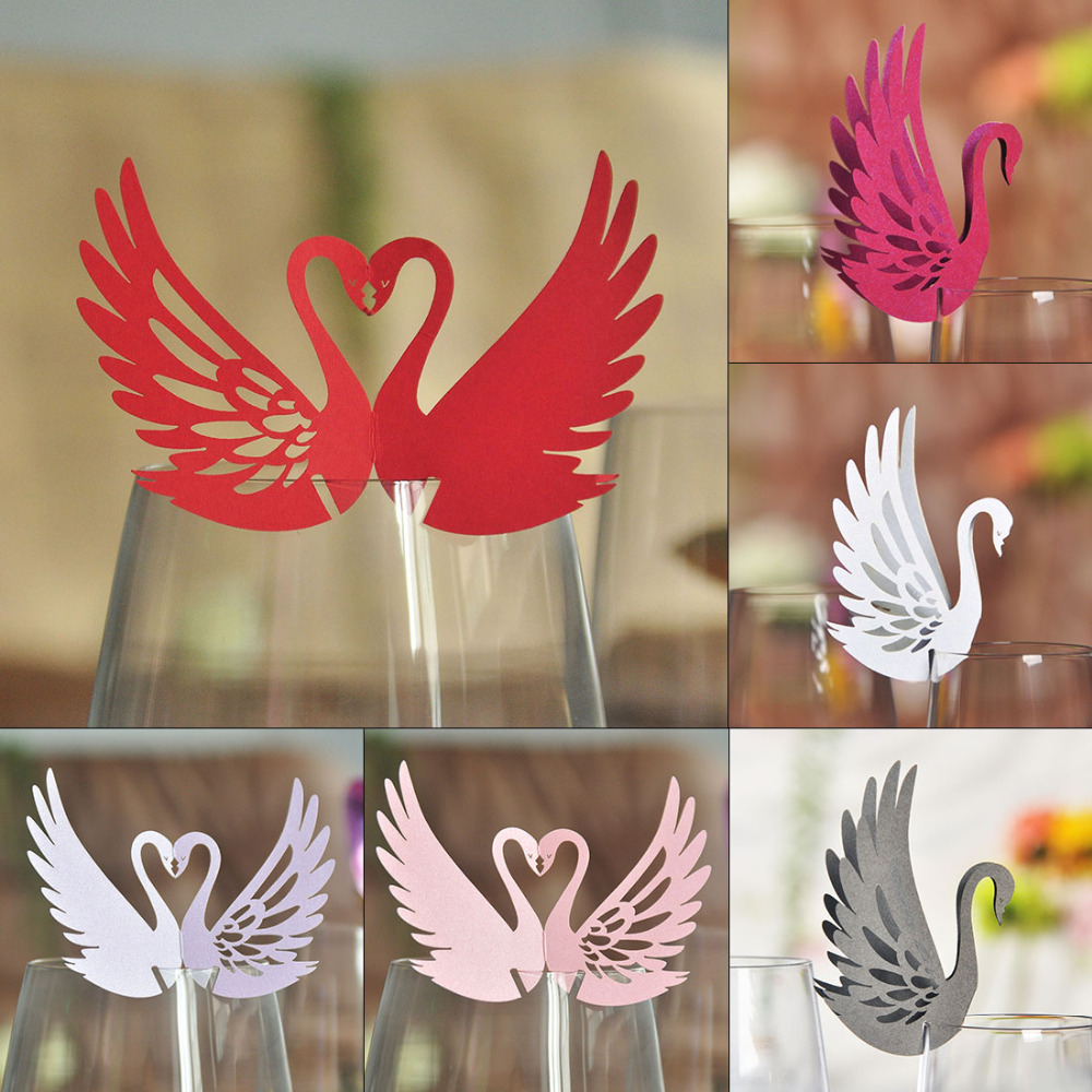 10pcs 4 Colors DIY Place Card Laser Cut Swan Wedding Invitation Wine Glass Cup Paper Cards Name Card Wedding Party Decorations