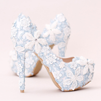 Platform High Heels 14cm Blue Women Wedding Shoes Lace Flower Bridal Stiletto Pumps Crystal Ladies Sexy Party Shoes Footwear