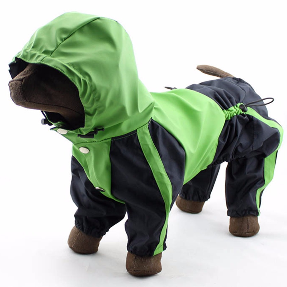 Leather jacket for dogs - Pu Leather Pet Dog Raincoat Dogs Puppy Waterproof Dog Poncho Clothes Apparel Hooded Glisten Hoody Rain