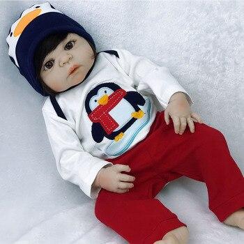 Real 57CM Full Body Bebe silicone boy Reborn Babies Doll Bath Toy Lifelike Newborn  Baby Doll Bonecas Bebes Reborn Menino