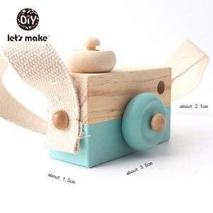 Image 3 - Vamos fazer 1pc brinquedos do bebê de madeira moda câmera pingente montessori brinquedos para crianças de madeira diy presentes de enfermagem bloco do bebê