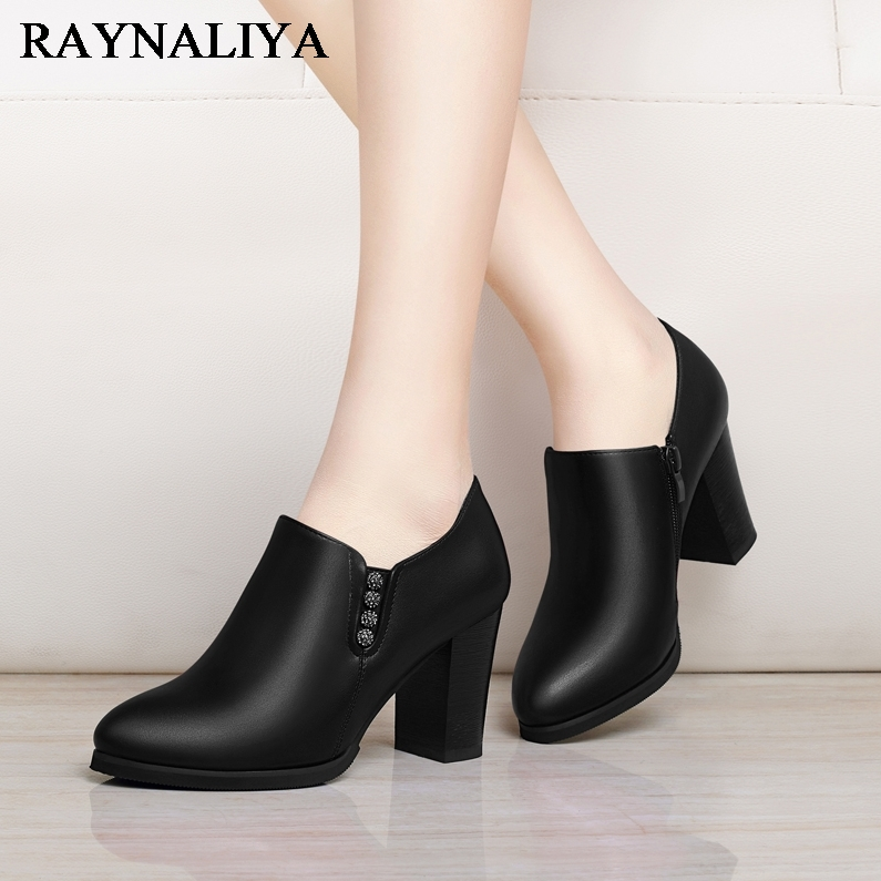 New Thick Heel Lady Boots Black High Heel Ankle Boots For Women Pointed Toe Side Zipper Female Shoes Ladies Boots YG-A0068 basic 2018 women thick heel ankle boots black pu fleeces round toe work shoe red heel winter spring lady super high heel boots