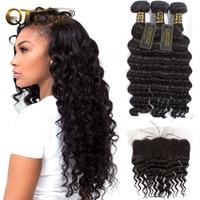 Loose Deep Wave Bundles With Closure Brazilian Hair Weave Bundles With Closure 4pc/lot Non Remy Human Hair Bundles With Frontal