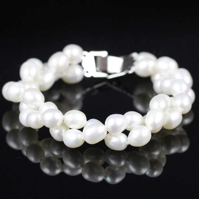 Women Pearl Bracelet Charms Genuine Freshwater Multistrand Pearl Chain China Fashion Jewelry White Gold Plated Bracelet