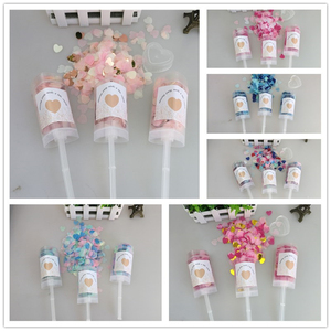 Image 1 - 10pcs/lot Heart Push Pop Confetti Poppers Wedding Baby Bride Shower Birthday Party Decoration Kids Toys Supplies