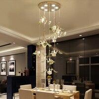 Crystal Pendant Light ceramic living room lamp simple modern restaurant spiral Pendant Lights bedroom creative circular lamps