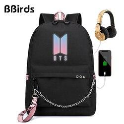 BBirds BTS Backpack Girls Backpack Children School Bags Laptop Backpack Rugtas Mochila Bts Backpack Women USB Headphone Port