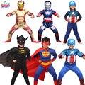 Los niños de dibujos animados de la realidad chico músculo superhéroe traje de spiderman batman superman Hombre de Hierro de Capitán América vengadores ropa