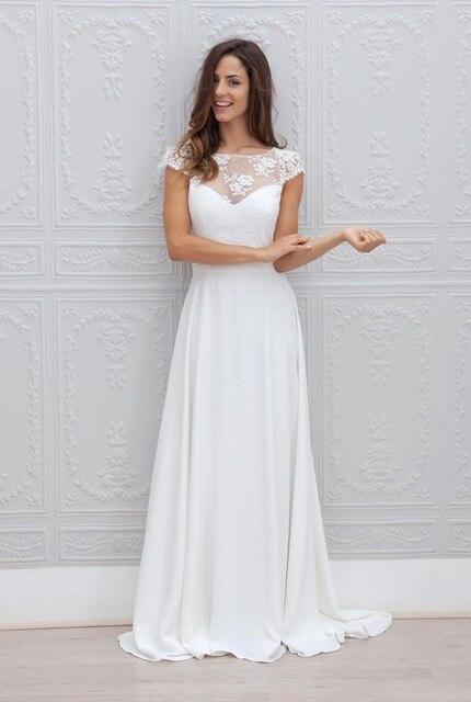 Custom Made Simple Chiffon Bridal Gown Vestido De Noiva Elegant Lace ...