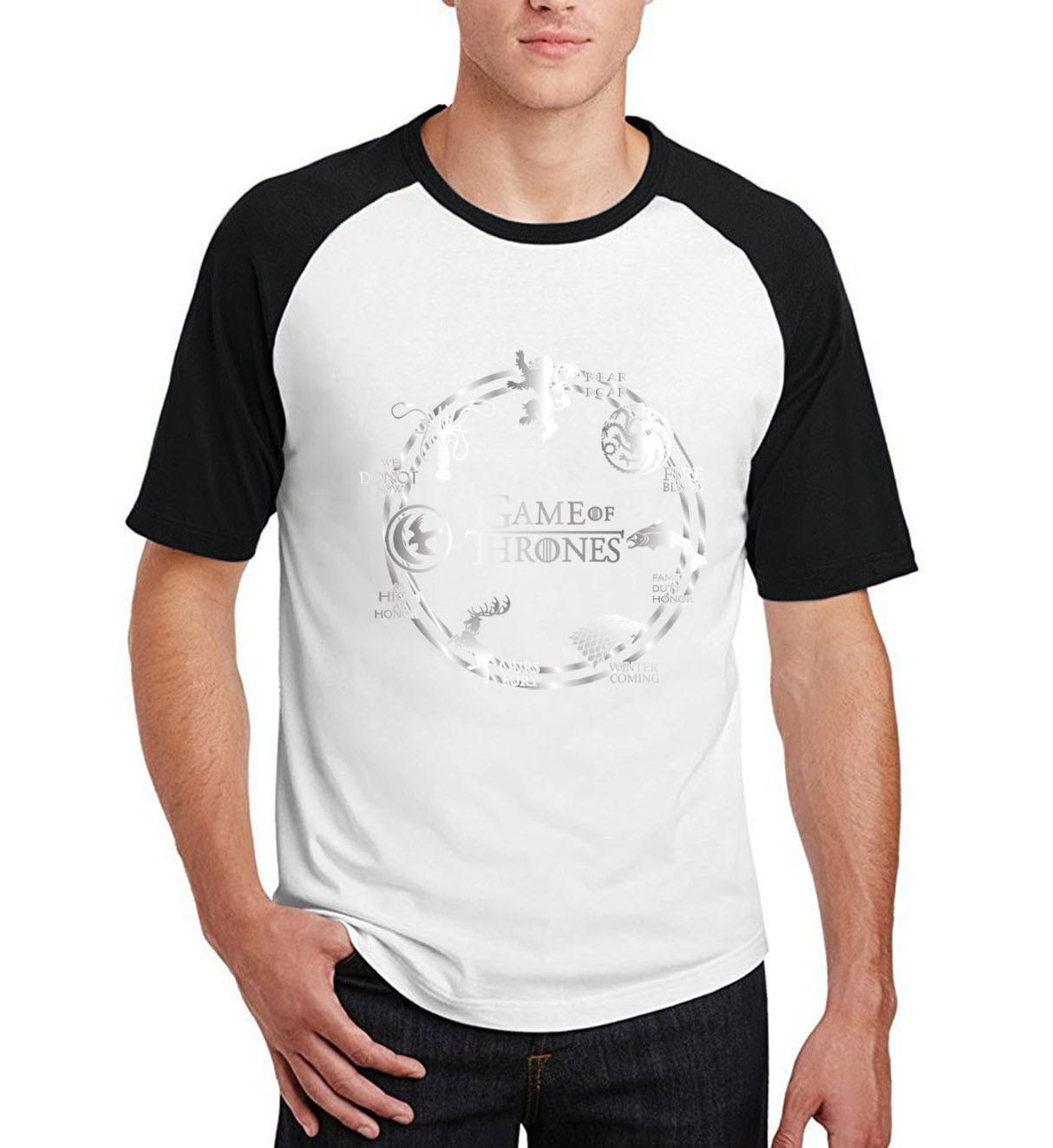 Game of Thrones  raglan short sleeve t-shirts novelty winter is coming harajuku camisetas men 2019 summer cotton t shirts