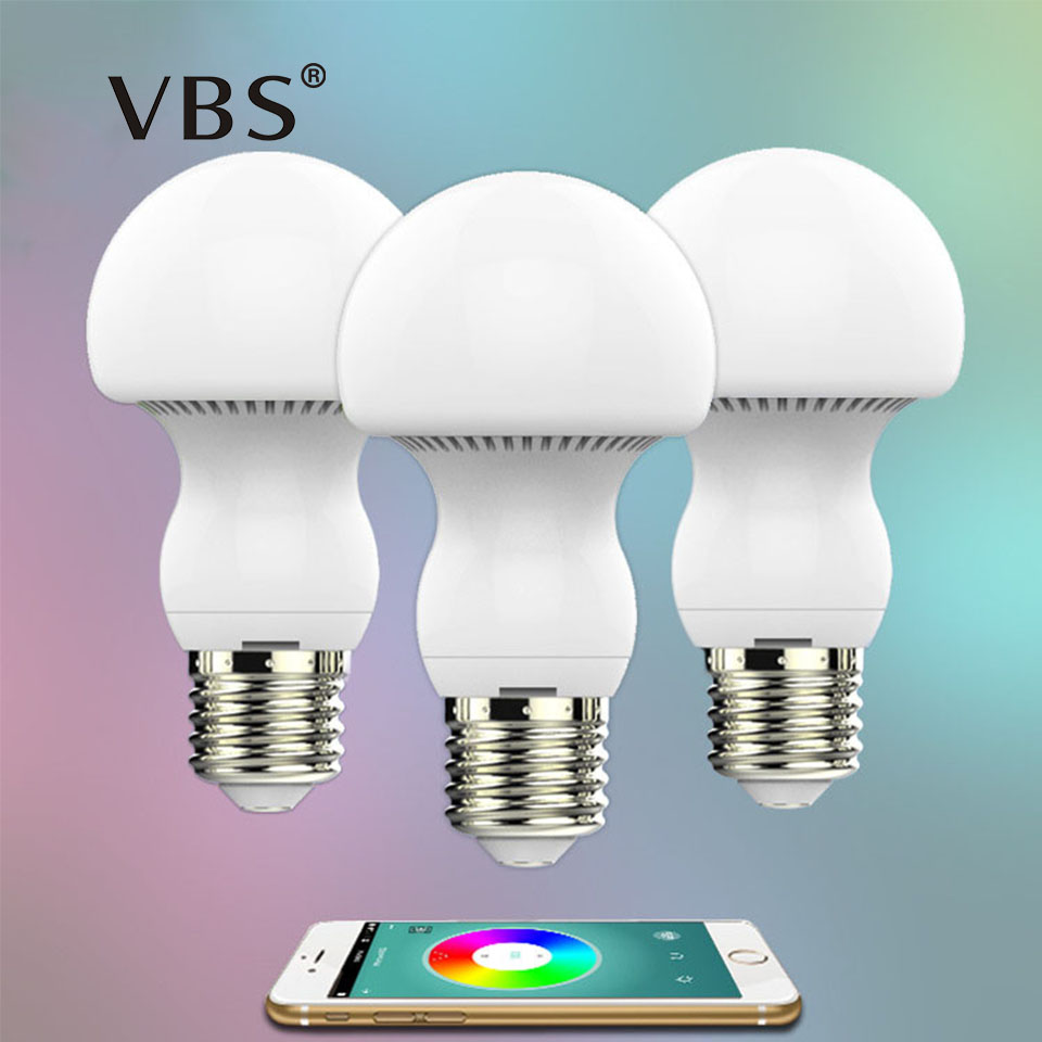 Mushroom Lamp Bulb Bluetooth LED Bulb E27 RGBW 6W Bluetooth 4.0 Smart Color Changeable By IOS / Android APP Dimmable AC85-265V smart dimmable mushroom led bulb household intelligent lighting rgb e27 600lm ac85 265v switchable for ios and android
