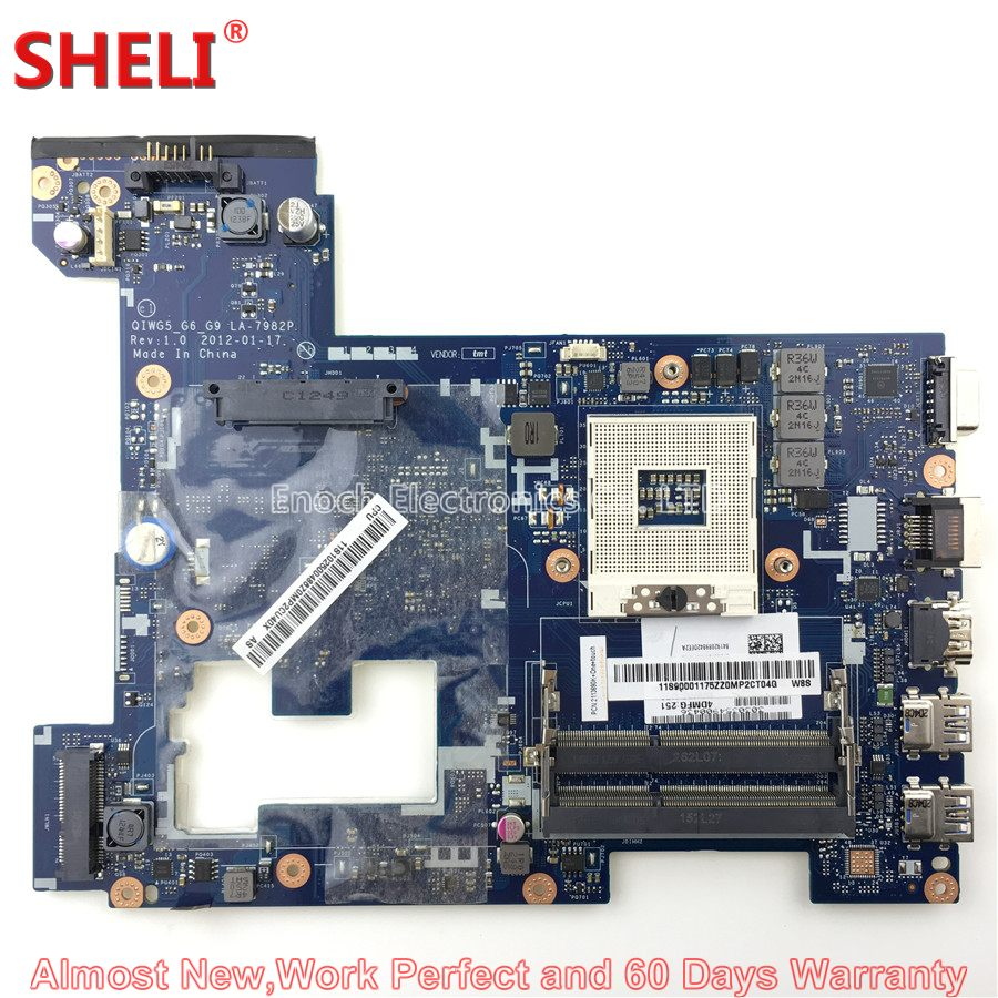 SHELI 90001175 11S90001175 Laptop Motherboard For Lenovo Ideapad G580 QIWG5_G6_G9 LA-7982P System Board Main Board Work Perfect la 7982p laptop motherboard for lenovo g580 p580 p585l main board hm76 gma hd ddr3