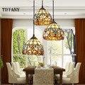 Luzes Pingente Tiffany shell retro pastoral Mediterrâneo europeu 3 Cabeça Linha de teto luminaria Lâmpadas penduradas Para Decoração de Casa