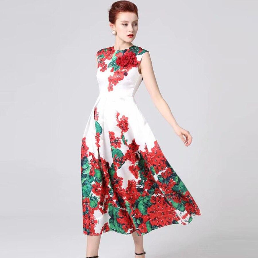 Kadın Giyim'ten Elbiseler'de VERDEJULIAY Pist uzun elbise Yaz 2019 Yeni Moda Lüks kadın Kolsuz Çiçek Baskı 3D Aplikler Boncuk uzun elbise'da  Grup 1