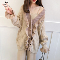 Net Red Temperament Sweater Women's Cardigan Autumn 2018 Fashion New High quality Personality Loose Long Ruffled knit Coat H0122