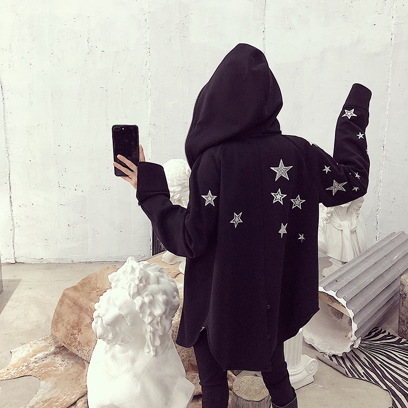 Con Del Rivestimento Autunno Della Femminile Delle Cappuccio Nero Irregolare Khalee 2018 Black Sportiva Donne Tuta Yose Zip Soprabito Ricamo Lungo Star Streetwear Cappotto EzqY4t