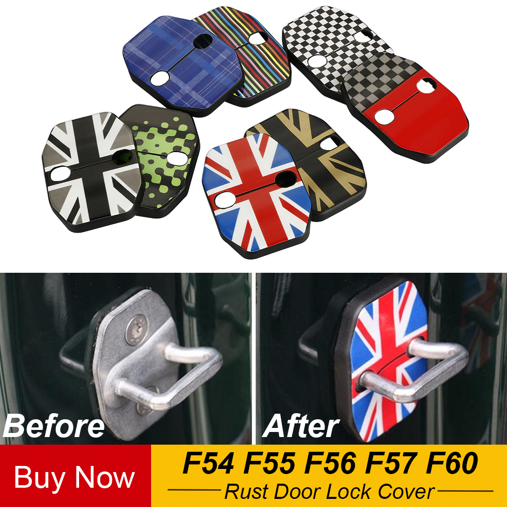 2pcs Car Door Rust Resistant Door Lock Buckle Cover Union Jack Style For Mini Cooper S Hatchback F55 F56 Car Styling Accessories