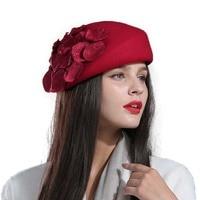 100% wool beret winter berets women winter felt beret Floral Women Felt French Beret Beanie fedora hat Beanie Winter Flower M77