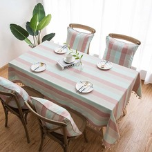 Pink Striped Tablecloth Waterproof Rectangular Kitchen Dining-Table Tablecloth Tassel Linen End Table Cloth Decor Covering Cloth