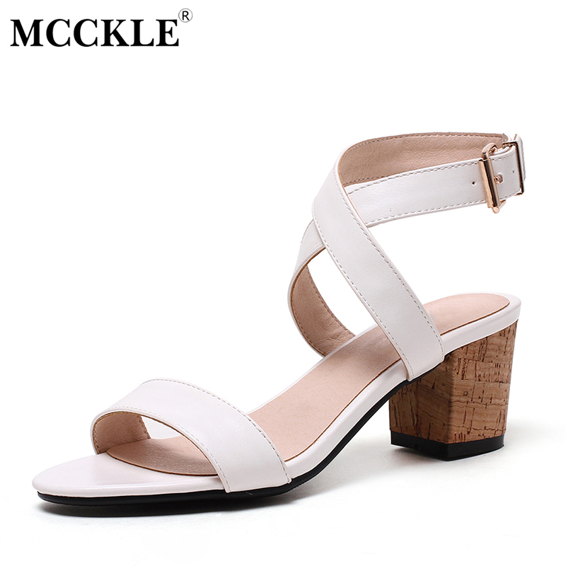 MCCKLE 2017 Women Shoes Sandals Mid-heels Open Toe Black Buckle Summer Woman Ankle Strap Fashion Comfortable Plus Size 34-43  ephemeral ladies zip sandals with heels buckle strap open toe summer casual shoes woman spongy insole plus size 11 12 white pink