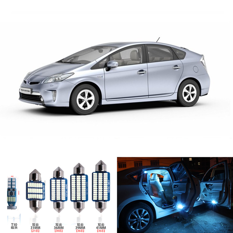 1 set White Ice blue Map Dome Trunk License Plate LED Light Interior Package Deal Kit For 2004-2015 Toyota Prius Toyota-B-08 13pcs canbus car led light bulbs interior package kit for 2006 2010 jeep commander map dome trunk license plate lamp white