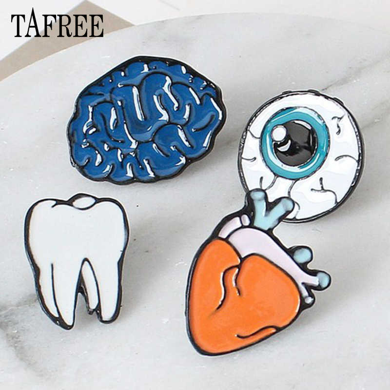 TAFREE New HOT Europe, Japan, South Korea Brooches Colorful Enamel of human organs brain, eyes, teeth Lapel Pins Accessories 01