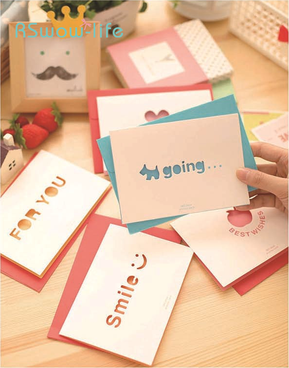 2pcs Simple Openwork Postcard Blessing New Year Holiday Christmas Birthday Love Message Greeting Card Festival Party Supplies in Cards Invitations from Home Garden