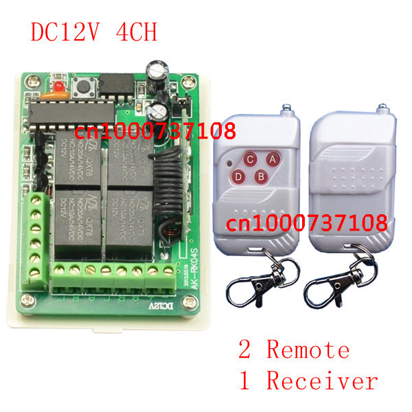 DC12V 4CH RF wireless power window switch 315mhz radio control light switch with learning code dc12v rf wireless switch wireless remote control system1transmitter 6receiver10a 1ch toggle momentary latched learning code