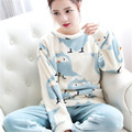 Cute Coral Fleece Women's Pajamas Sets Winter Warm Ladies Round Neck Sleepwear Sets Thicken Girls Pajamas Homewear