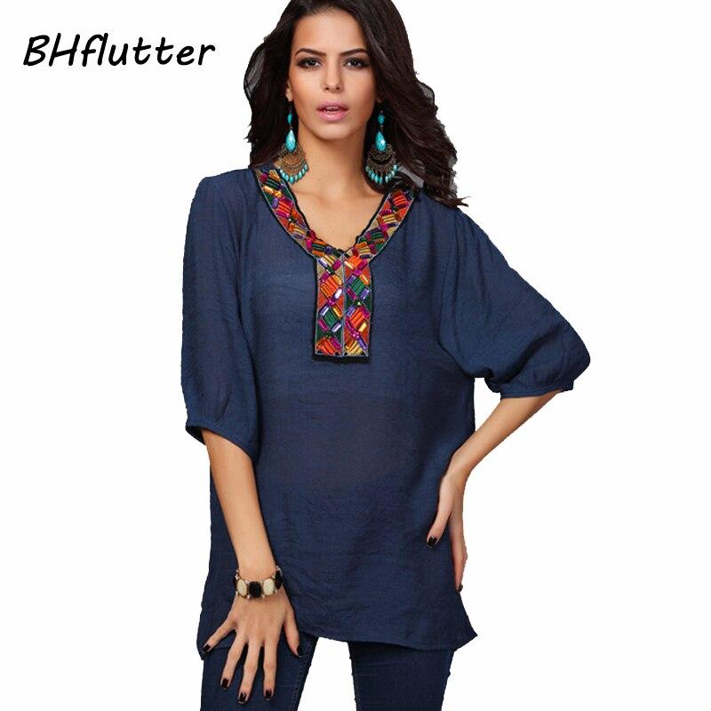 BHflutter Blouse Shirt Summer Tops Half Sleeve Handmade Embroidery Women Blouses Female Casual Cotton Linen Shirts Blusas